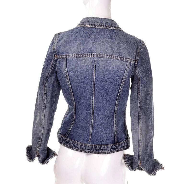Dolce & Gabbana Distressed Jean Denim Jacket Italy Size 2 5