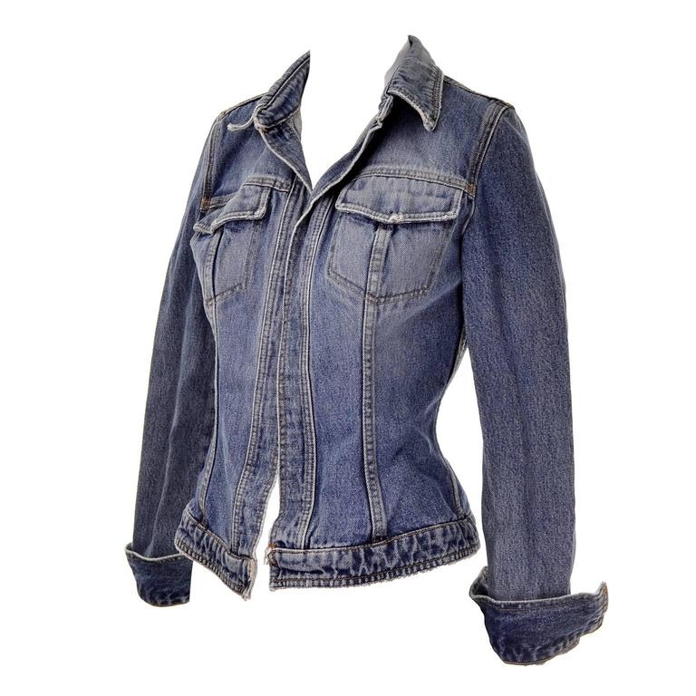 Dolce & Gabbana Distressed Jean Denim Jacket Italy Size 2