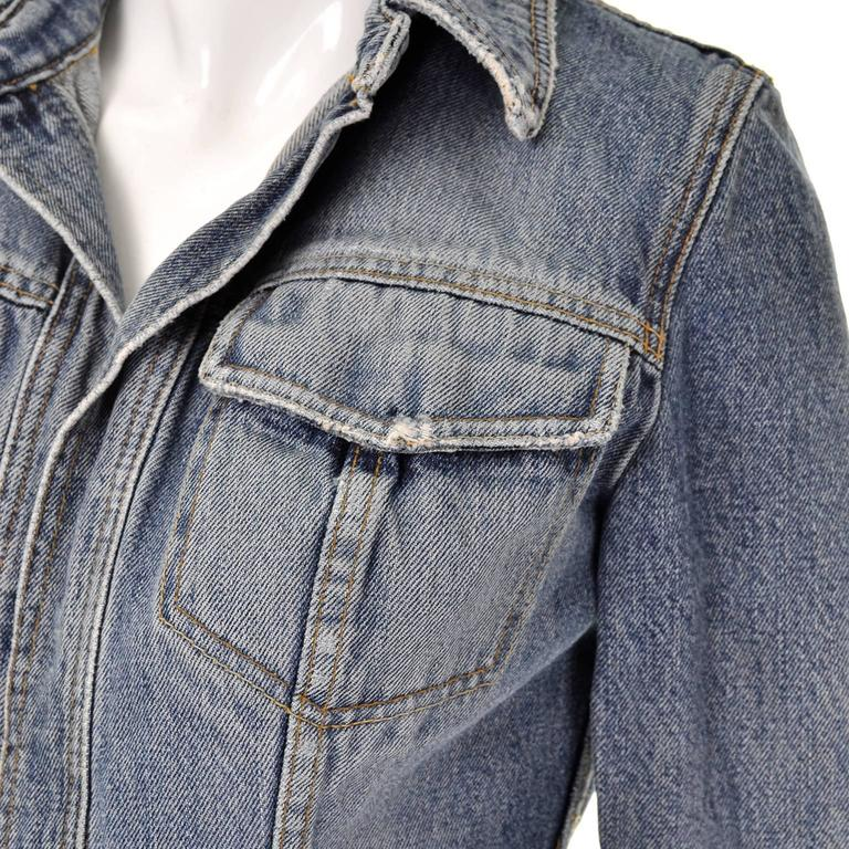 Dolce & Gabbana Distressed Jean Denim Jacket Italy Size 2 2