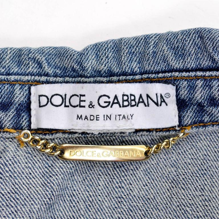Dolce & Gabbana Distressed Jean Denim Jacket Italy Size 2 7