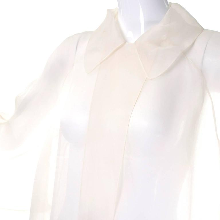1980s Off White Calvin Klein Sheer Organza Vintage Jacket or Long Tunic Top  3