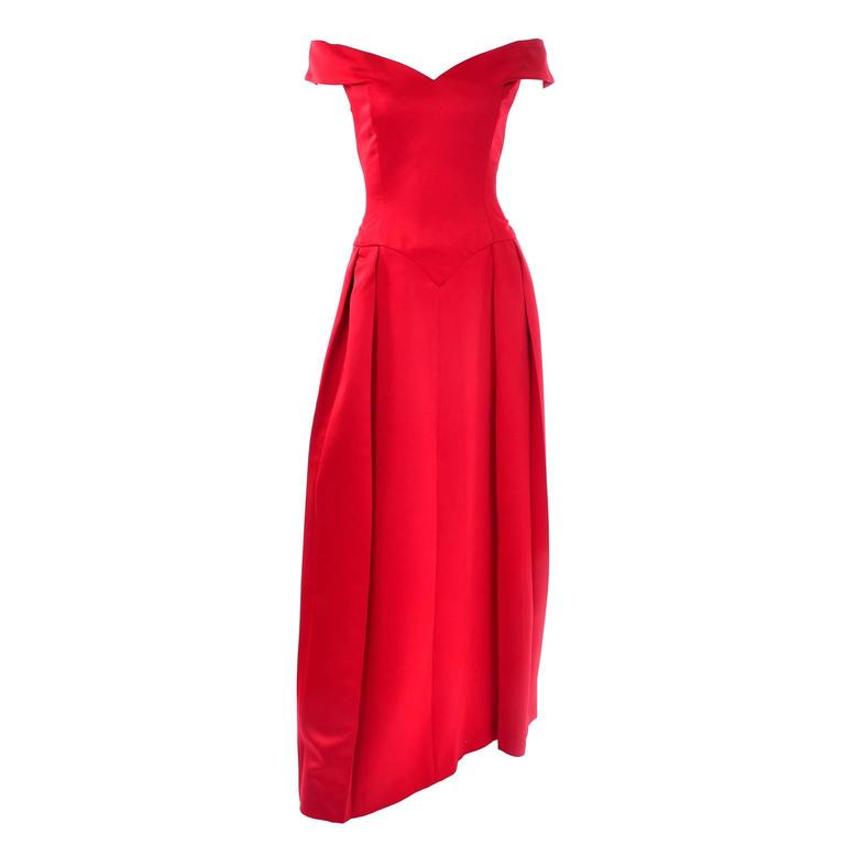 Victor Costa I Magnin Red Off Shoulder Vintage Dress Evening Ballgown