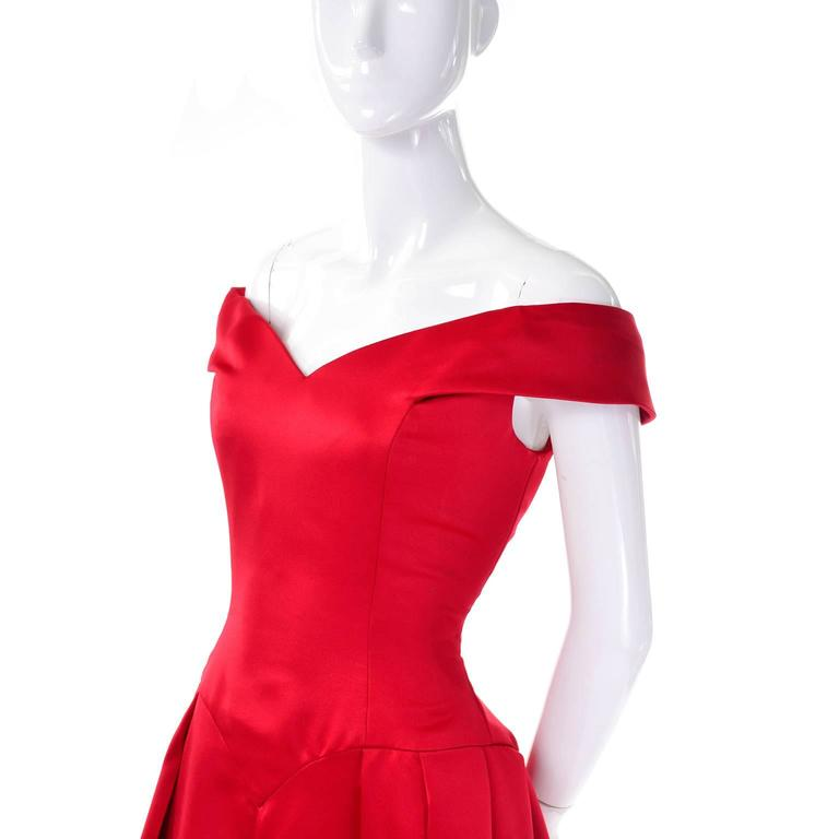 Victor Costa I Magnin Red Off Shoulder Vintage Dress Evening ...