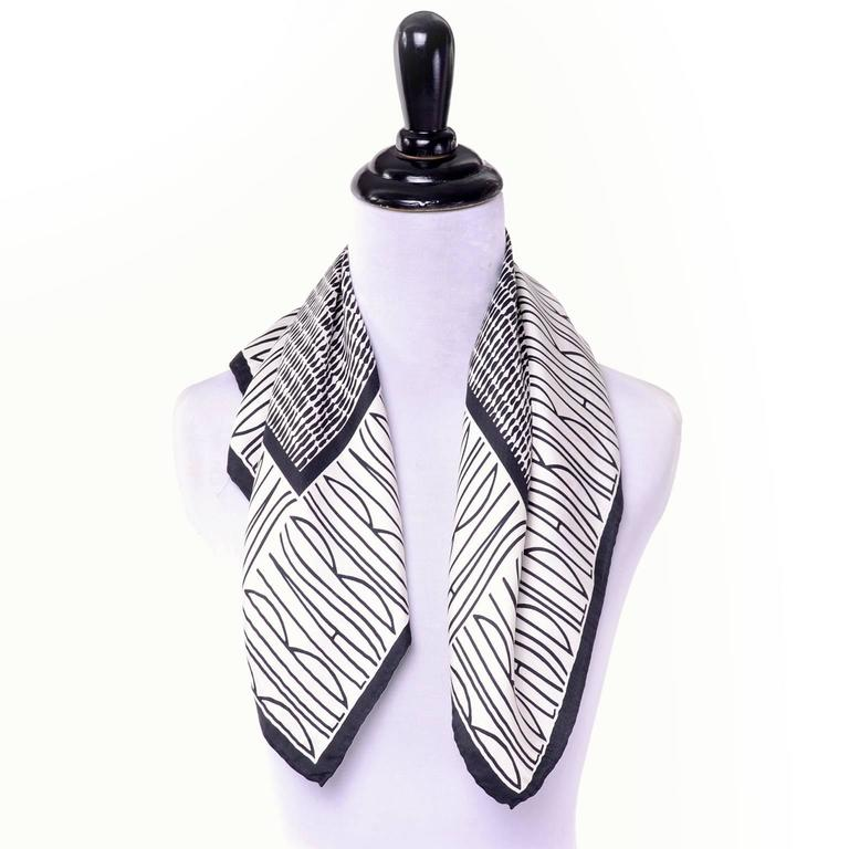Bill Blass Vintage Silk Scarf Statement Logo Black White Abstract Geometric In Excellent Condition For Sale In Portland, OR