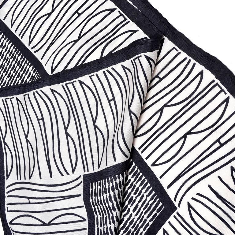 Bill Blass Vintage Silk Scarf Statement Logo Black White Abstract Geometric For Sale 1