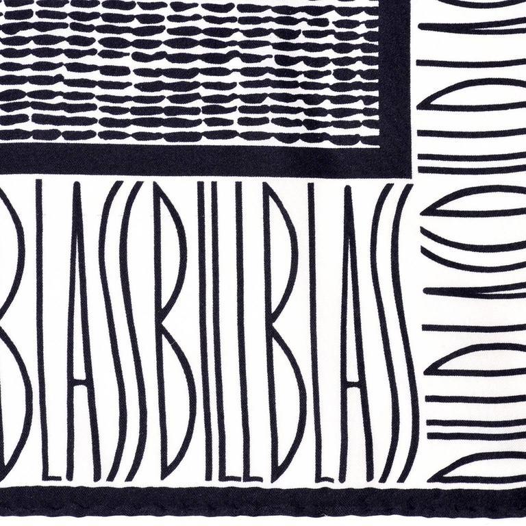 Bill Blass Vintage Silk Scarf Statement Logo Black White Abstract Geometric For Sale 2