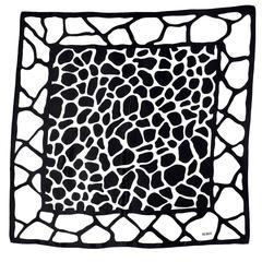 Vintage Bill Blass Giraffe Print Black & White Abstract Silk Scarf