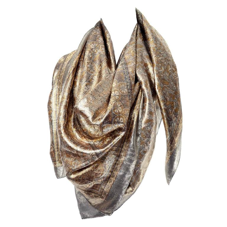 435364e3b Silk Metallic Gold Patterned Oversized Vintage Scarf or Wrap at 1stdibs