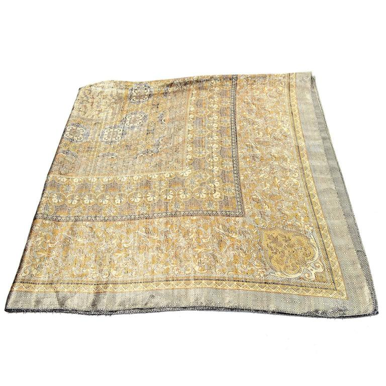 5f2443fcd Women's Silk Metallic Gold Patterned Oversized Vintage Scarf or Wrap For  Sale