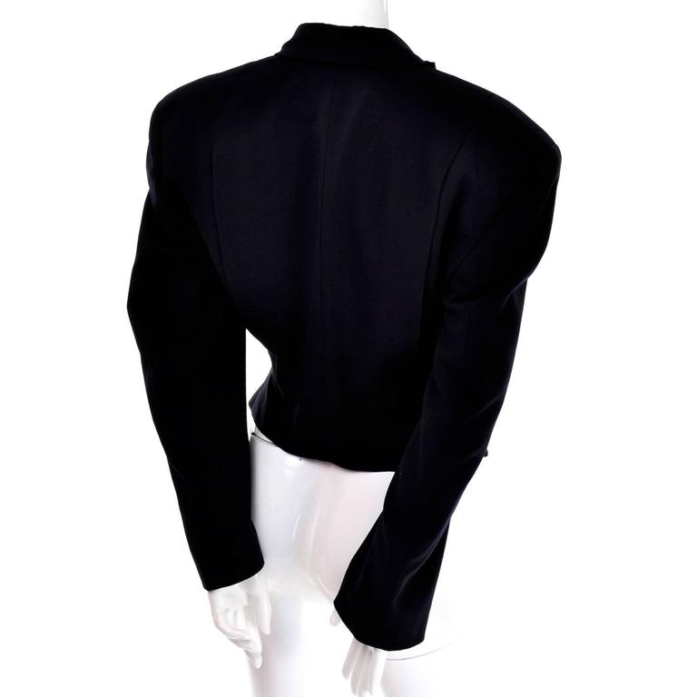 Comme des Garcons Black Wool Cutaway Open Front Short Jacket Blazer For Sale 3