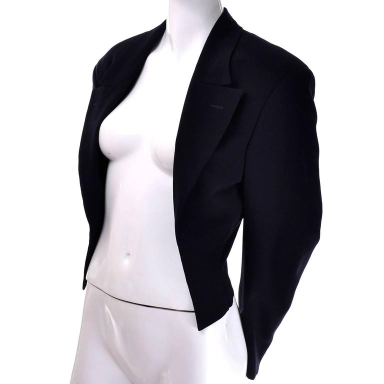Women's Comme des Garcons Black Wool Cutaway Open Front Short Jacket Blazer For Sale