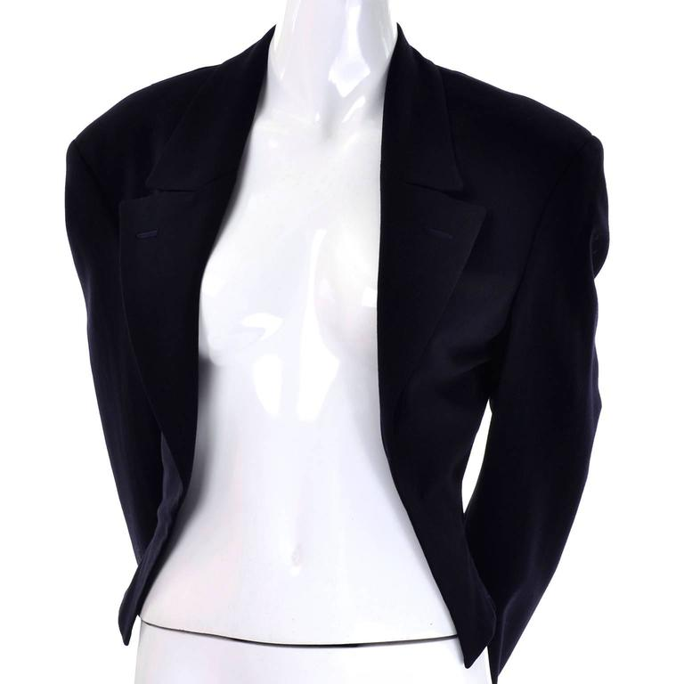Comme des Garcons Black Wool Cutaway Open Front Short Jacket Blazer For Sale 2
