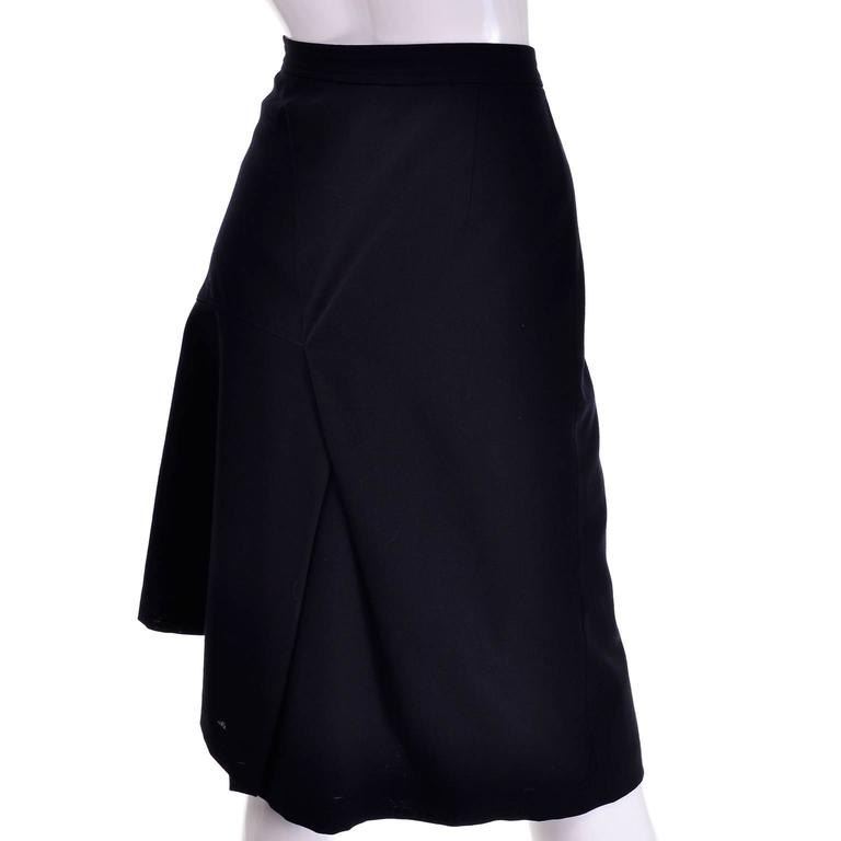 Black Comme des Garcons Vintage Avant Garde Asymmetrical Wool Skirt  For Sale