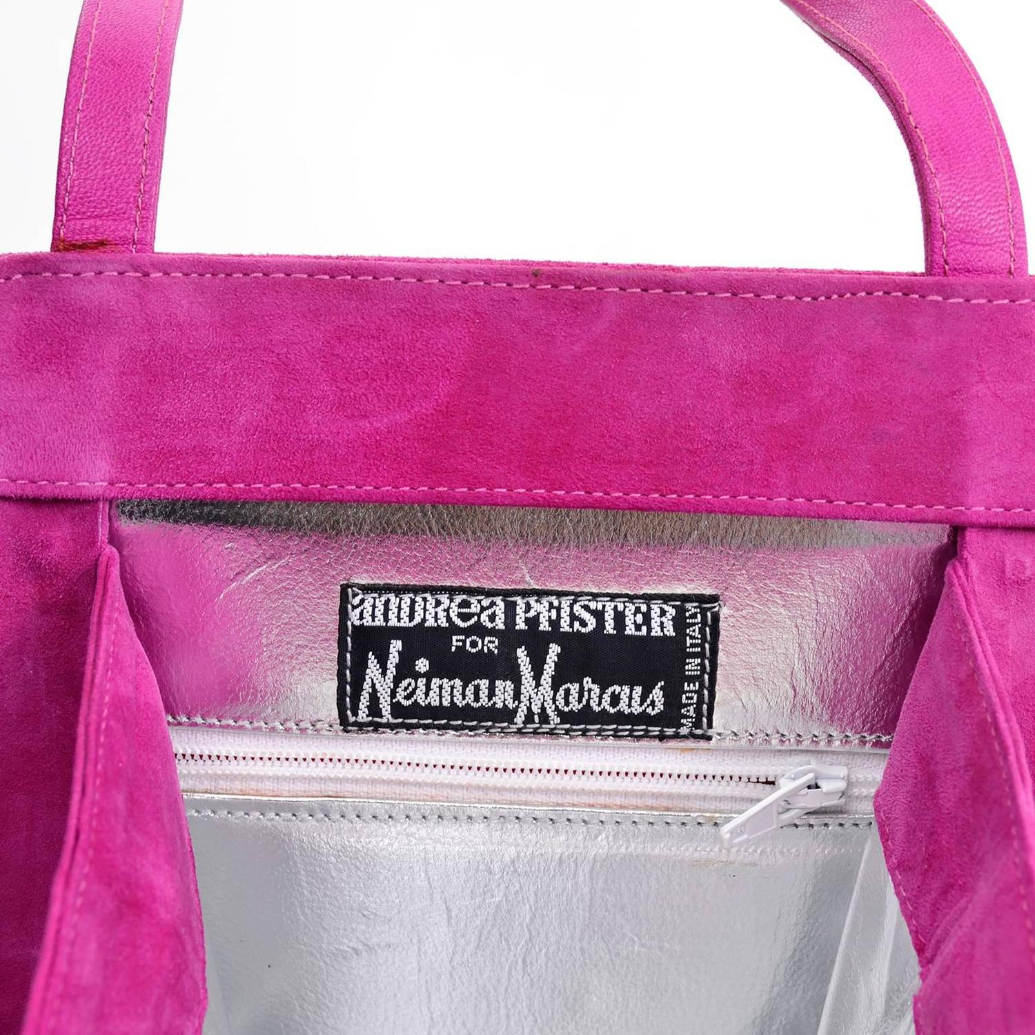 Andrea Pfister Handbag In Pink Suede With Silver Leather Lining & Black Trim laFTpjsf