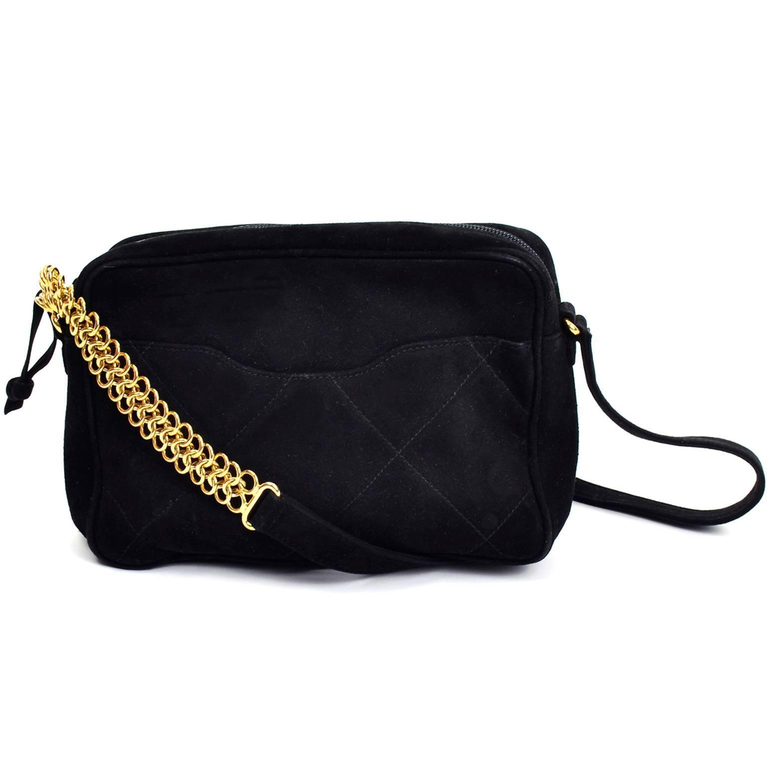 Aquascutum Black Suede Quilted Crossbody Handbag With Gold Chain Link Strap cSSd6sDumn