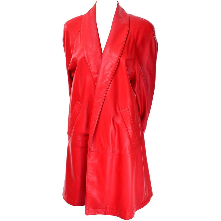 1980s Vakko Orange Red Leather Semi Swing Coat Medium Jacket Made in USA