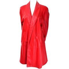 1980s Vakko Orange Red Leather Semi Swing Coat Jacket USA Medium