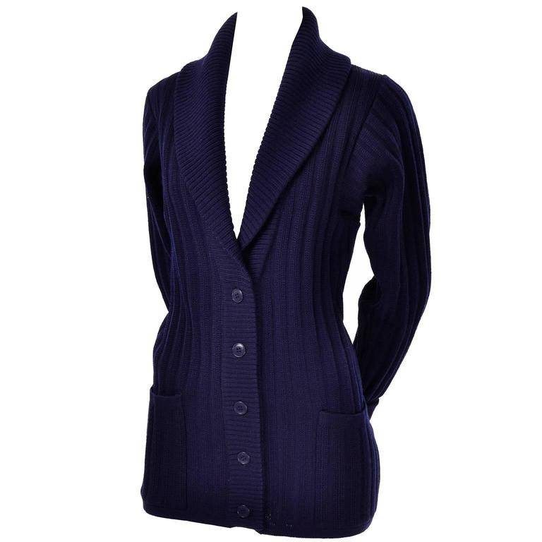 YSL Yves Saint Laurent 1970s Navy Blue Wool Cardigan Sweater With Shawl Collar  1