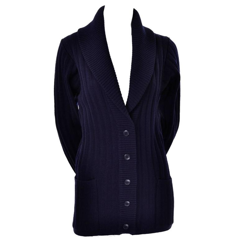 YSL Yves Saint Laurent 1970s Navy Blue Wool Cardigan Sweater With Shawl Collar  2