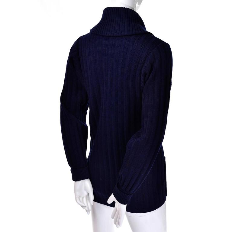 YSL Yves Saint Laurent 1970s Navy Blue Wool Cardigan Sweater With Shawl Collar  3