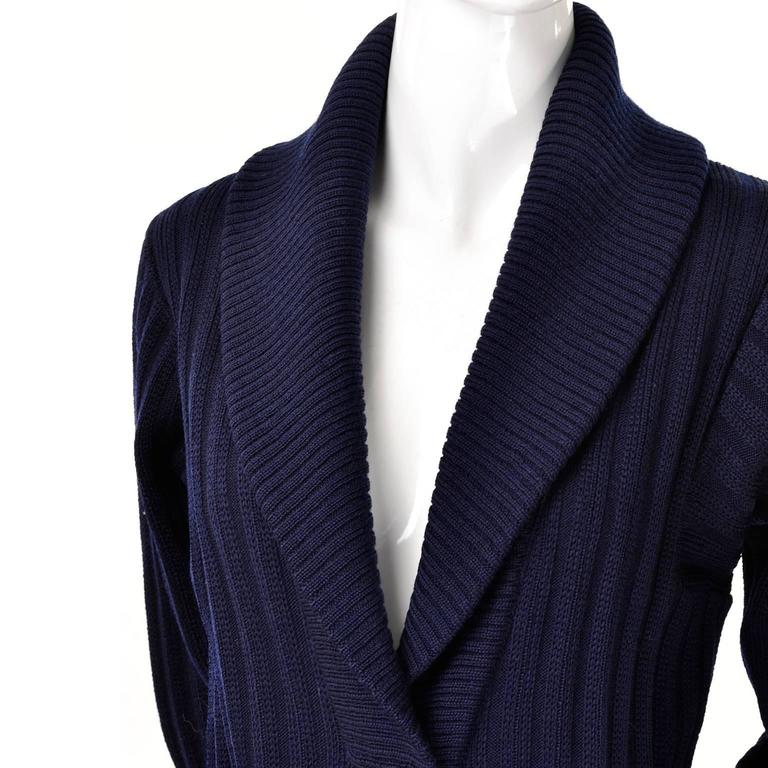 YSL Yves Saint Laurent 1970s Navy Blue Wool Cardigan Sweater With Shawl Collar  4