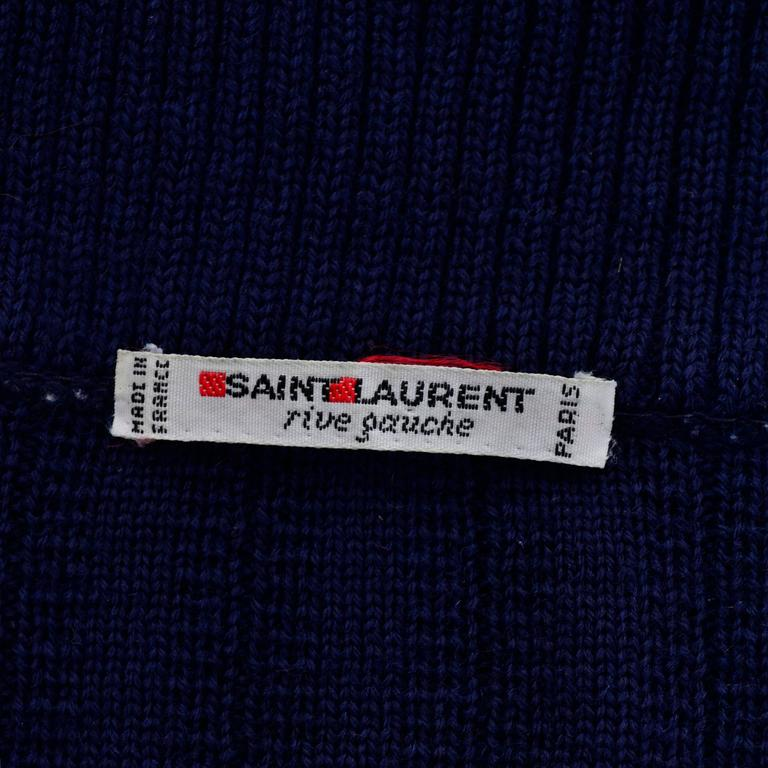 YSL Yves Saint Laurent 1970s Navy Blue Wool Cardigan Sweater With Shawl Collar  5