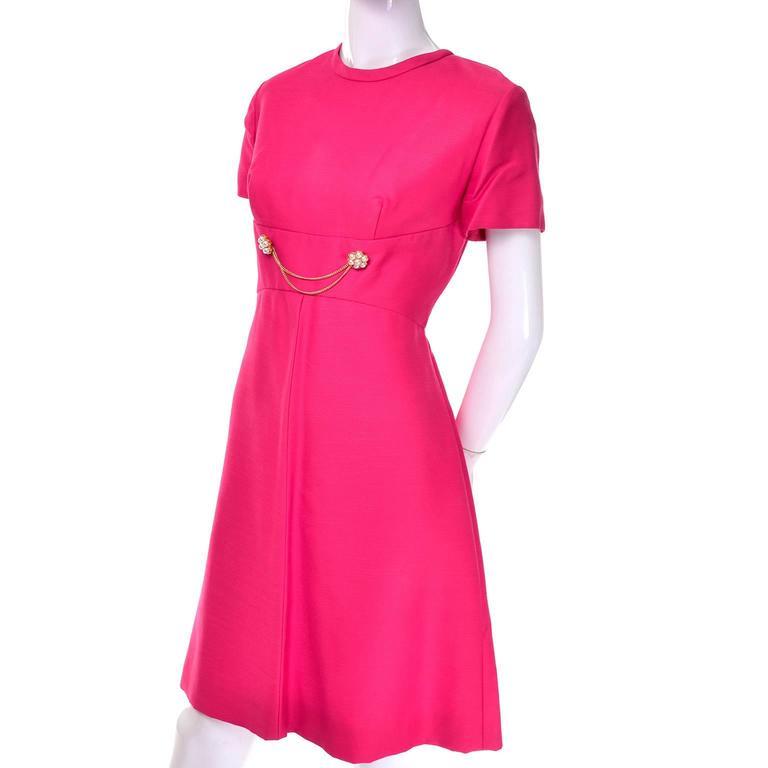 1960s Emma Domb Pink Dress and Coat Suit Ensemble Excellent Condition For Sale 2