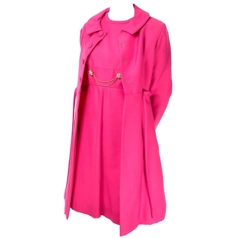 1960s Emma Domb Pink Dress and Coat Suit Ensemble Excellent Condition