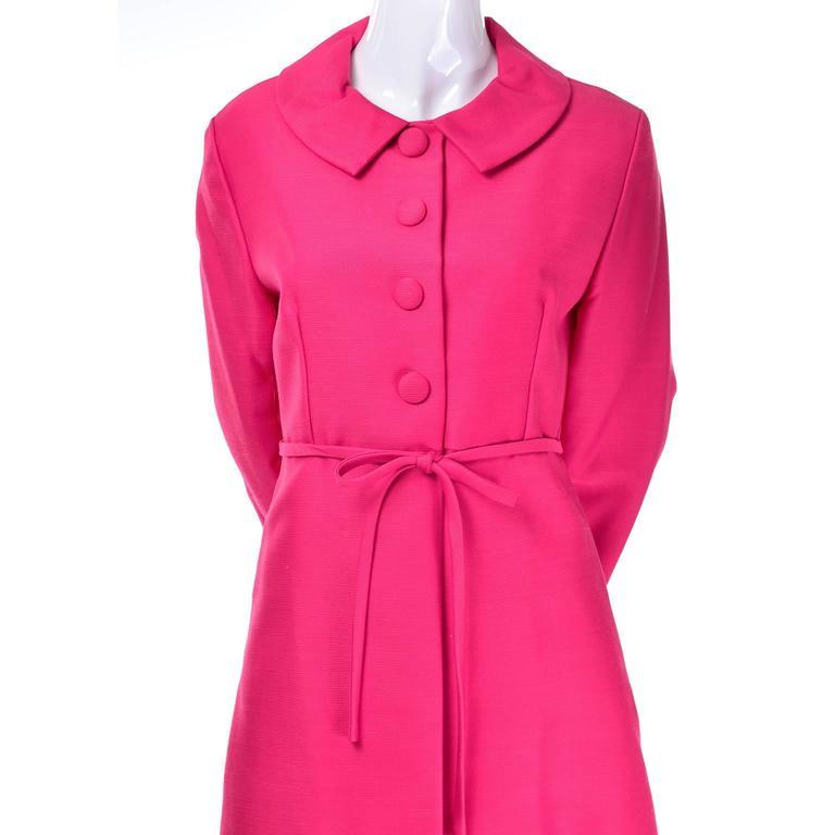 1960s Emma Domb Pink Dress and Coat Suit Ensemble Excellent Condition For Sale 1