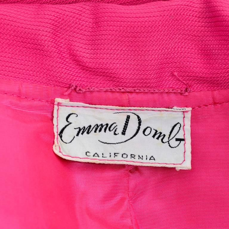 1960s Emma Domb Pink Dress and Coat Suit Ensemble Excellent Condition For Sale 5