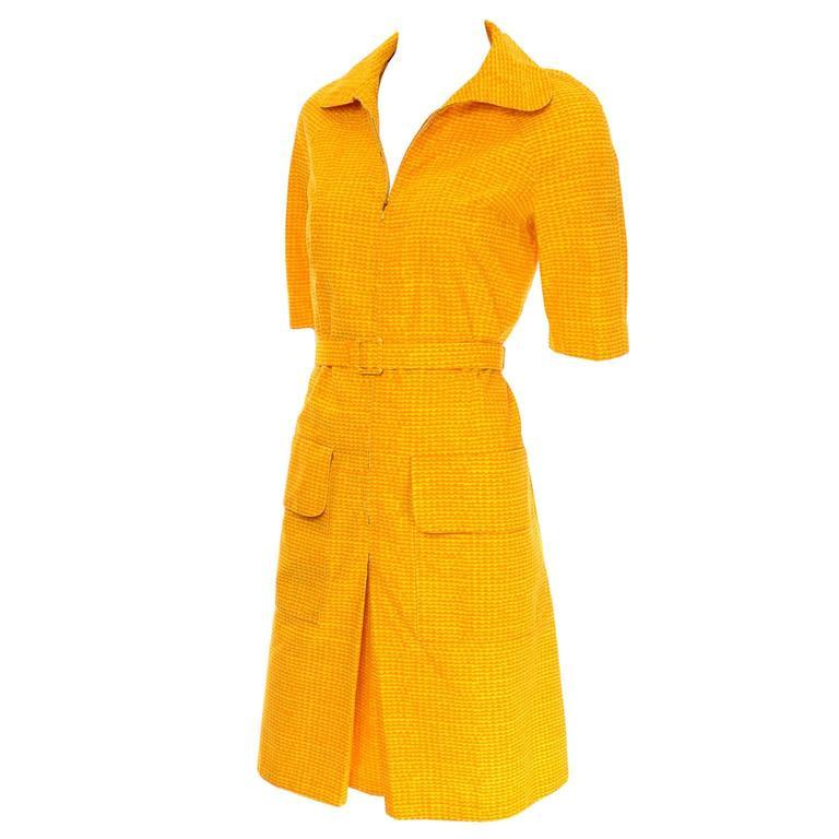 Vintage Marimekko Summer Dress Orange Yellow Cotton Print For