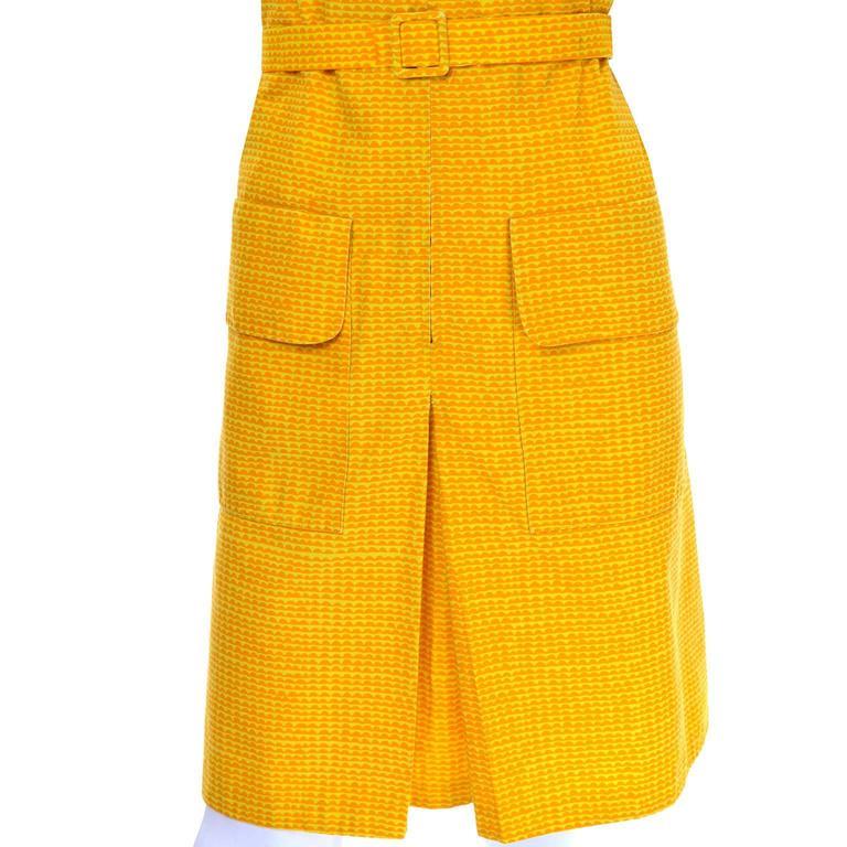 37c4d0f75240 Vintage Marimekko Vintage Summer Dress Orange Yellow Cotton Print For Sale 1