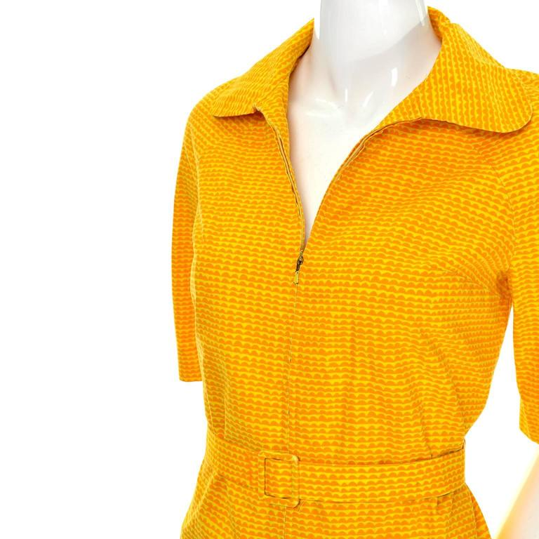 2be6086f97d6 Vintage Marimekko Vintage Summer Dress Orange Yellow Cotton Print For Sale 2