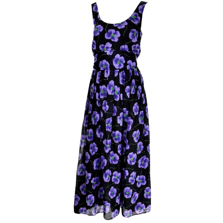 9d7b05140df4 Anthony Muto Vintage Purple and Black Floral Dress Size 4 For Sale ...