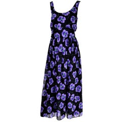 Anthony Muto Vintage Purple & Black Floral Dress Size 4