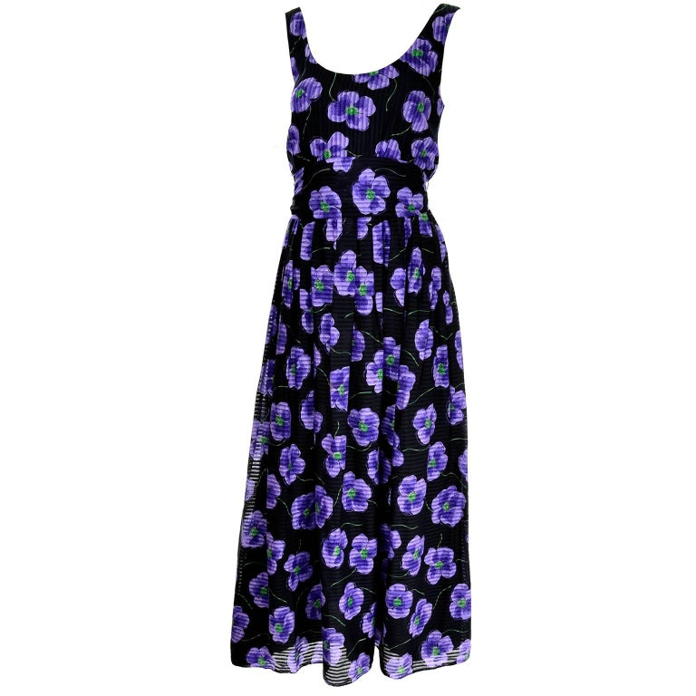 Anthony Muto Vintage Purple & Black Floral Dress Size 4 For Sale
