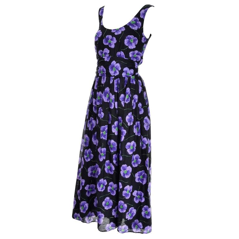 b0976ebf3b3b Anthony Muto Vintage Purple & Black Floral Dress Size 4 In Excellent  Condition For Sale In