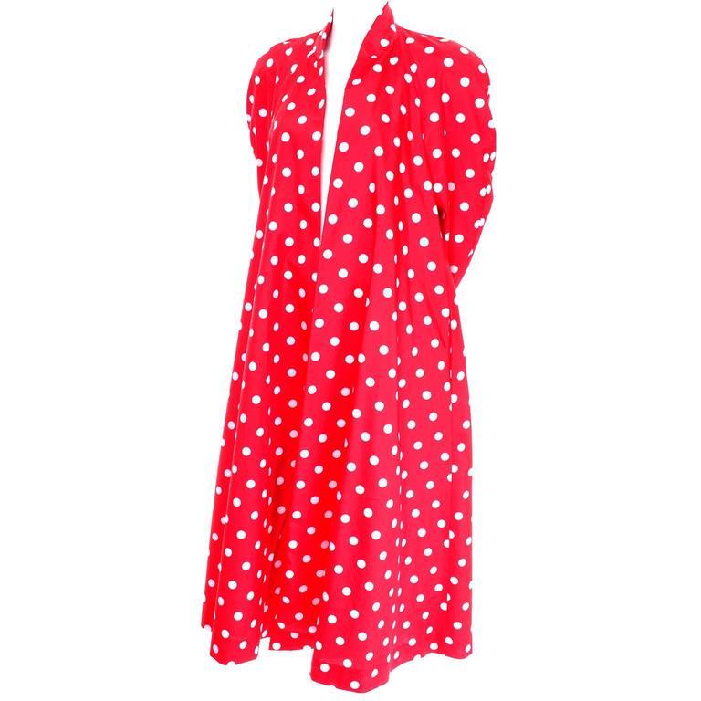 1980s Victor Costa Coat Bergdorf Goodman Red White Polka Dots Summer Evening