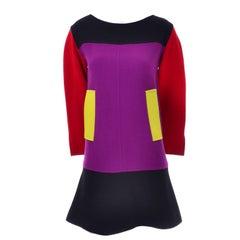 1980s Christian Lacroix Paris Vintage Black Purple Red Yellow Color Block Dress