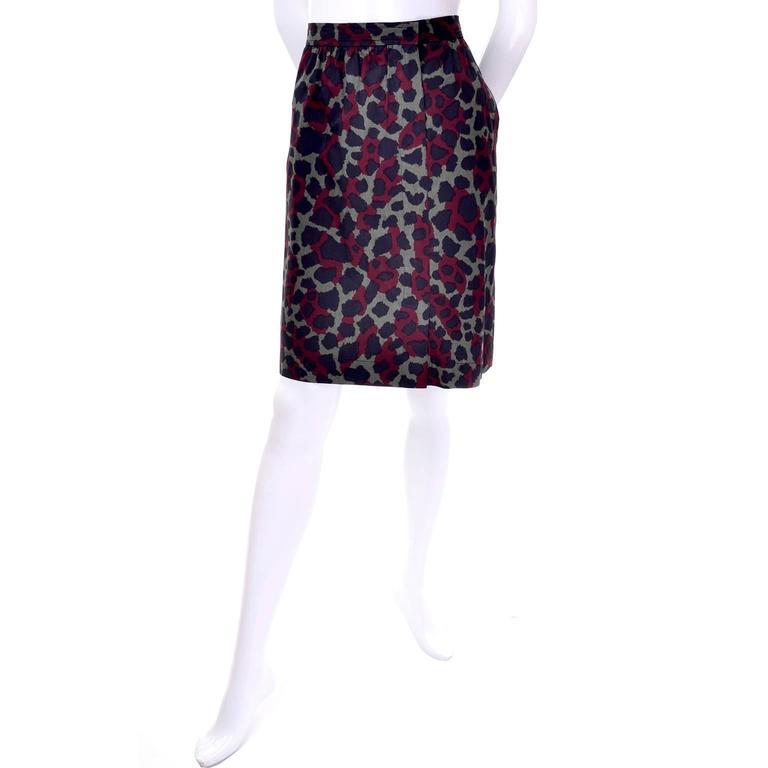 Black Yves Saint Laurent Vintage Camouflage Skirt Jacket Suit Ensemble YSL 1980s For Sale