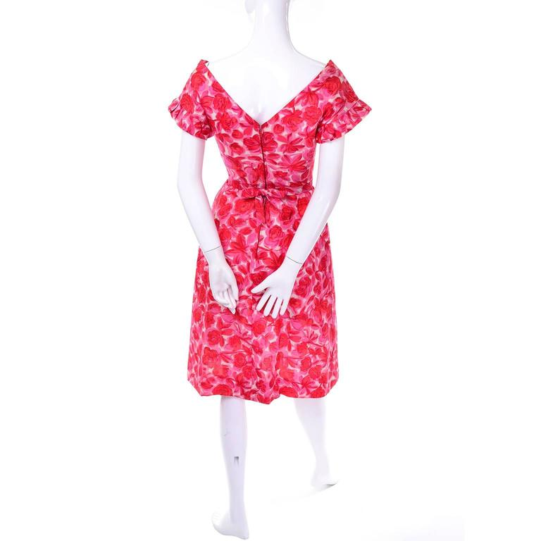 Vintage Pink Floral Silk Mid Century Dress in Faux Pinafore Style 2