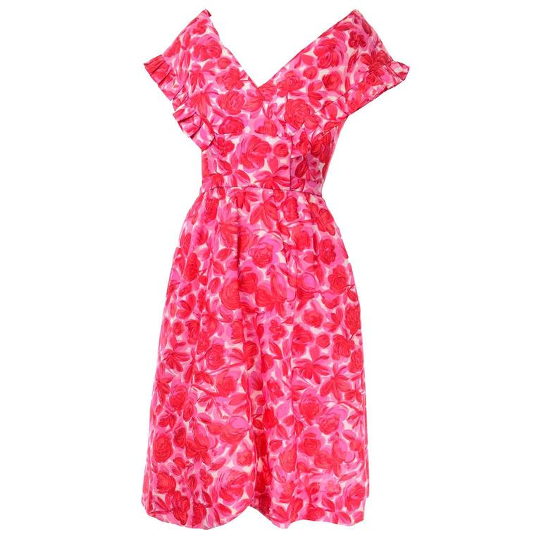 Vintage Pink Floral Silk Mid Century Dress in Faux Pinafore Style 1