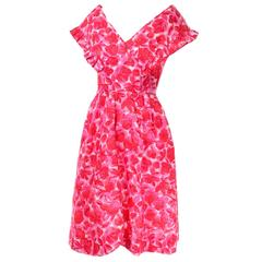 Vintage Pink Floral Silk Mid Century Dress in Faux Pinafore Style
