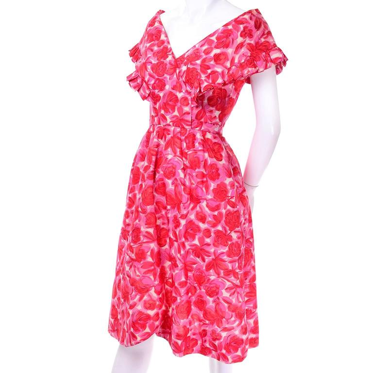 Vintage Pink Floral Silk Mid Century Dress Faux Pinafore Style 3