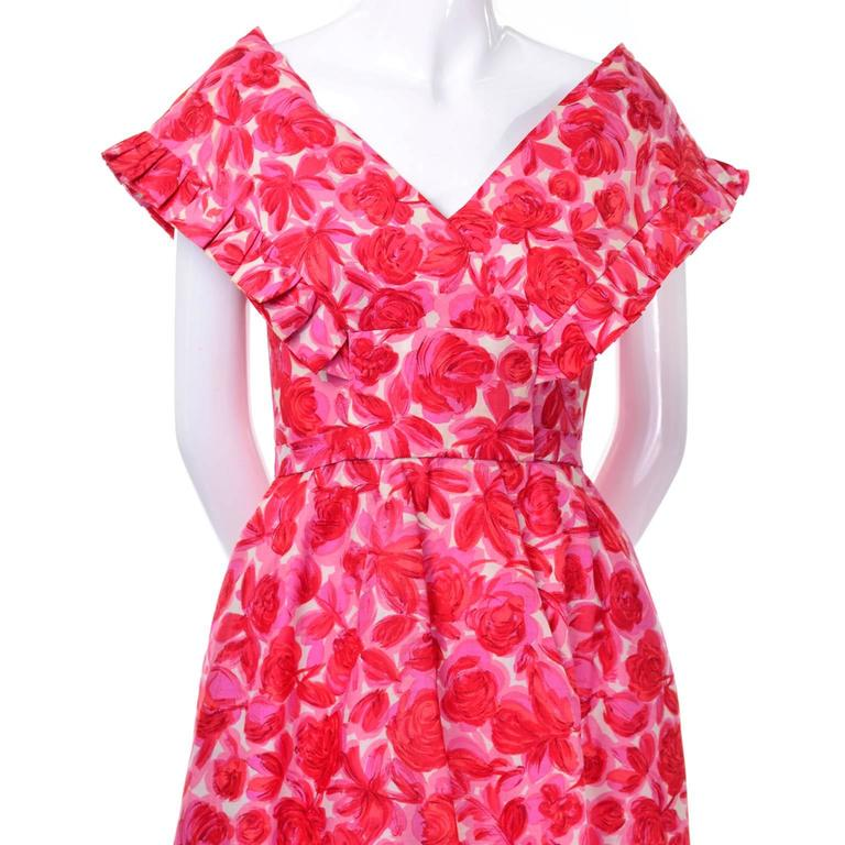 Vintage Pink Floral Silk Mid Century Dress in Faux Pinafore Style 7