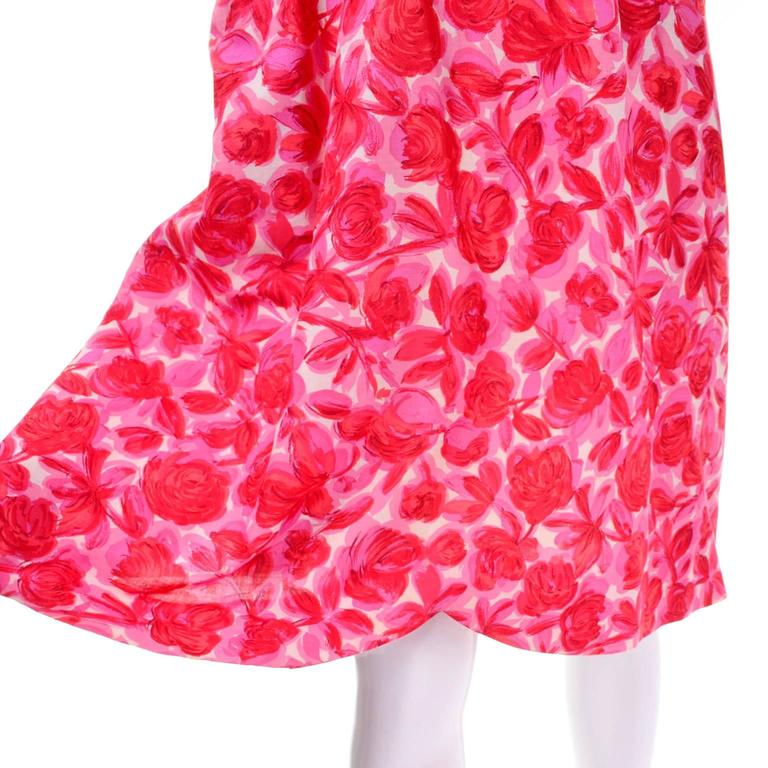 Vintage Pink Floral Silk Mid Century Dress in Faux Pinafore Style 6