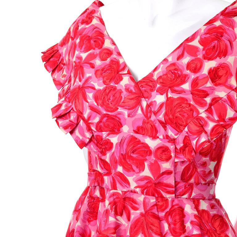 Vintage Pink Floral Silk Mid Century Dress in Faux Pinafore Style 4