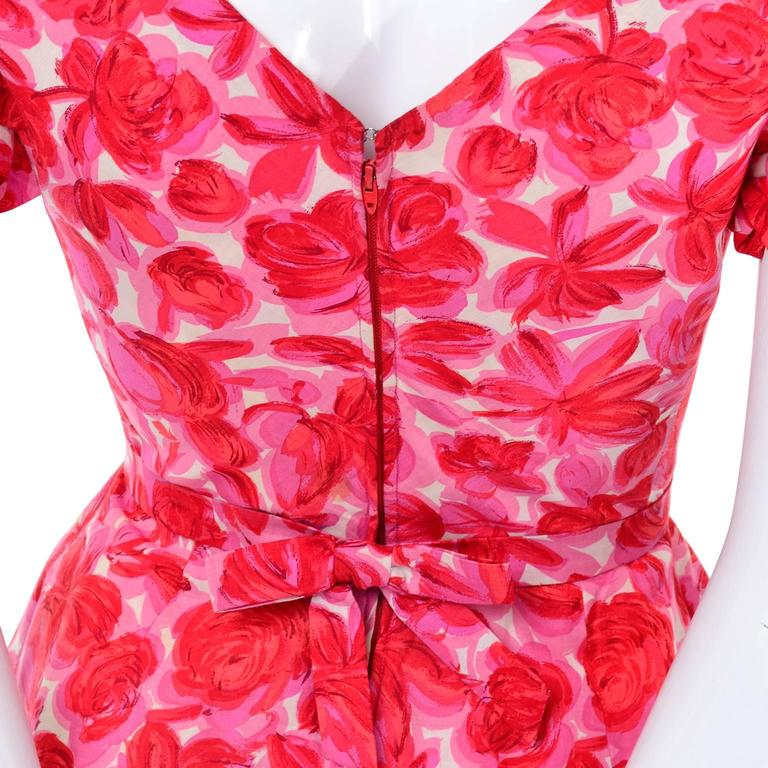 Vintage Pink Floral Silk Mid Century Dress Faux Pinafore Style 5