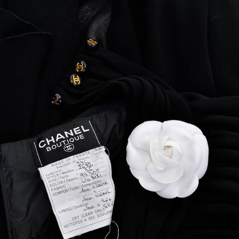 Chanel Vintage Asymmetrical Halter Dress with Camellia Bolero Jacket, 1994 For Sale 4