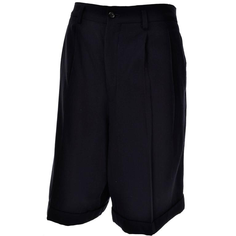 Comme des Garcons Long Shorts Midnight Wool Oversized Medium For Sale